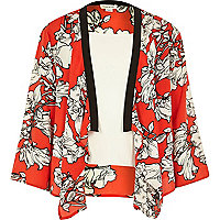 Girls red floral kimono and white cami set