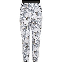 Girls pink rose print joggers