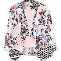 Girls floral print kimono and pink cami set