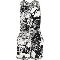 Girls black tropical print playsuit