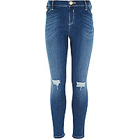 Girls blue ripped knee Molly jeggings