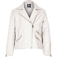 Girls cream pu zip biker jacket