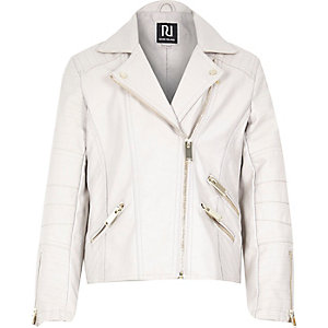Girls cream leather-look zip biker jacket