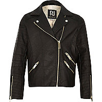 Girls leather-look biker jacket