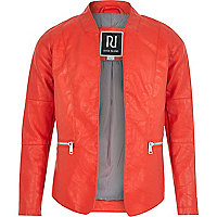Girls red leather-look open front jacket