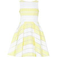 Girls yellow stripe prom dress