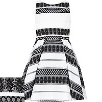 Girls white floral stripe party dress