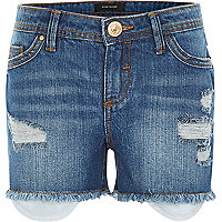 Girls blue mid wash denim rip shorts