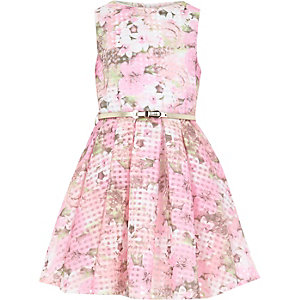 Girls pink floral organza check prom dress