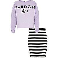 Girls purple pardon moi sweatshirt set