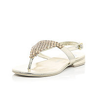 Girls gold gem embellished sandals