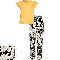 Girls orange top and tropical trousers outfit