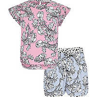 Girls pink floral print t-shirt short outfit