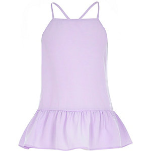 Girls purple peplum cami top