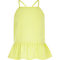 Girls lime peplum cami top