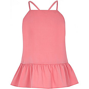 Girls coral peplum cami top