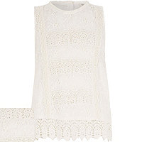 Girls cream lace tank top