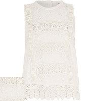 Girls cream lace tank top
