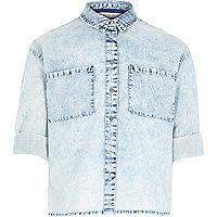 Girls light blue acid wash boxy shirt