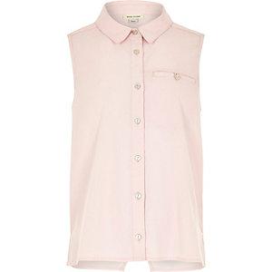 Girls pink sleeveless wrap back shirt