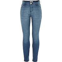 Girls blue mid wash jeggings