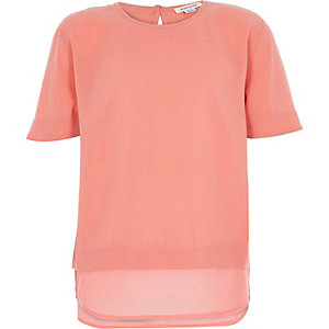 Girls pink layered t-shirt