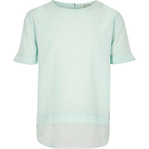 Girls light green layered t-shirt