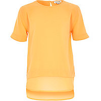 Girls orange layered t-shirt