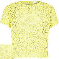 Girls yellow lace split back short sleeve top