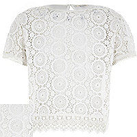 Girls cream lace split back short sleeve top