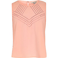 Girls coral embroidered front sleeveless vest