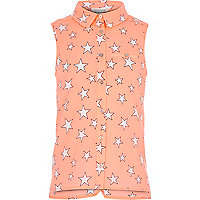 Girls coral star print sleeveless shirt