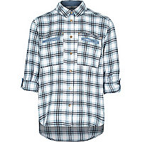 Girls blue button down check shirt