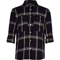 Girls navy button down check shirt