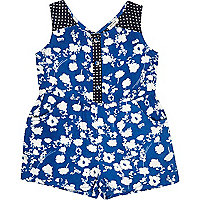 Mini girls blue floral playsuit