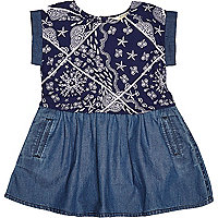 Mini girls denim paisley print dress