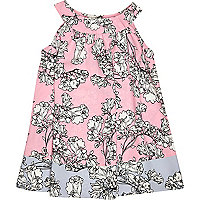 Mini girls pink floral trapeze dress