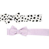 Mini girls purple bow headband pack