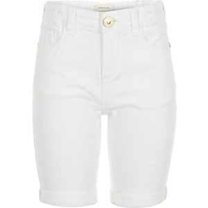 Girls white denim knee length shorts