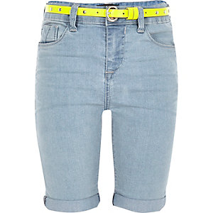 Girls blue denim belted knee shorts