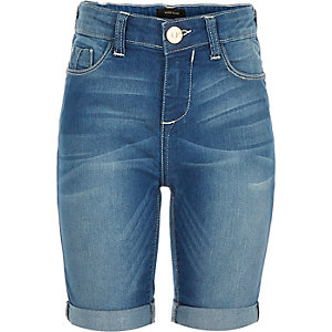 Girls blue denim knee length shorts