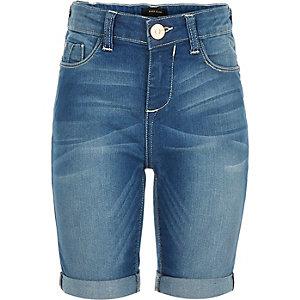 Girls blue denim knee length shorts