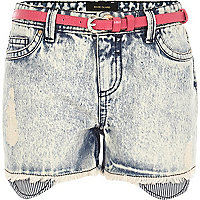 Girls blue denim belted shorts