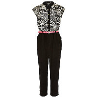 Girls black print button down jumpsuit