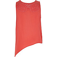 Girls coral asymmetric crochet top