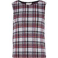 Girls red check jacquard tank top