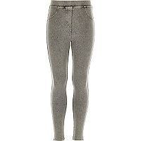 Girls grey acid wash denim leggings