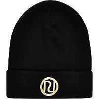 Girls black River Island beanie hat