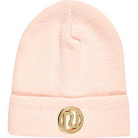 Girl pink RI branded beanie hat