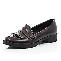 Girls brown tassel loafer
